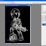Tutoriel Photoshop - Calque 0 avec la zone sélectionnée passée en noir