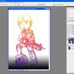 Tutoriel Photoshop - On masque le Fond 1 pour afficher le Calque 2 et voir le dessin en dégradés cette fois