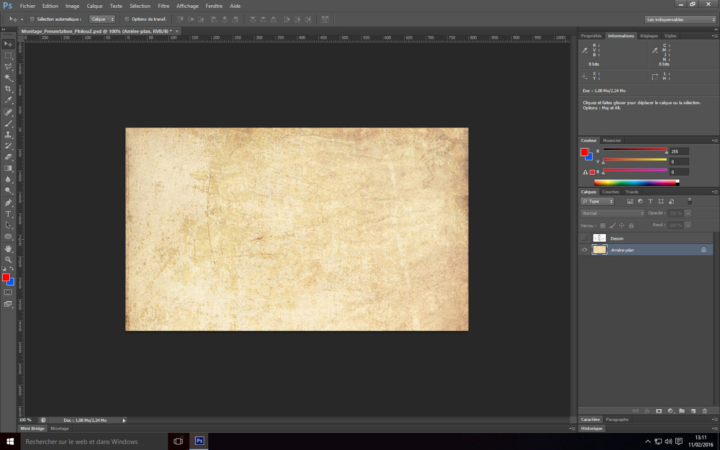 Tutoriel Photoshop - Image initiale fond papier
