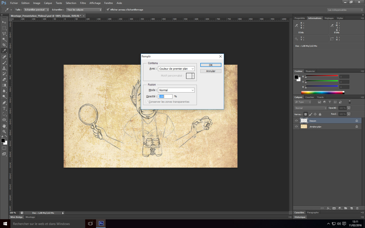 Tutoriel Photoshop - Remplissage avec la couleur de premier plan